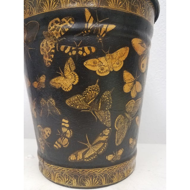 English English Antique Bucket / Pail With Decoupage Butterflies - Found in Southern England For Sale - Image 3 of 11