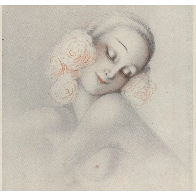 Matted Art Deco Sensual, Romantic Print of Nude Woman For Sale - Image 4 of 5