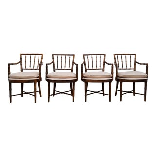 Drexel Heritage Faux Bamboo Dining Chairs - Set of 4 For Sale