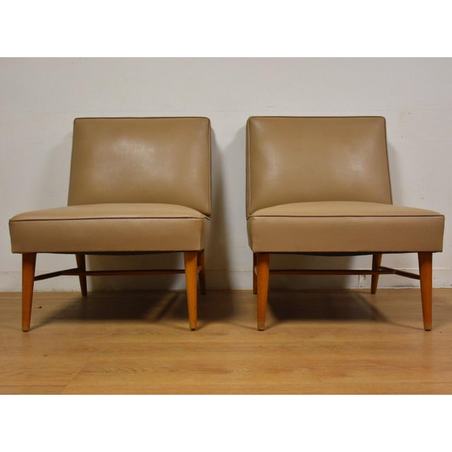 Mid-Century Modern Mid-Century Modern Beige Slipper Lounge Chairs - A Pair For Sale - Image 3 of 9