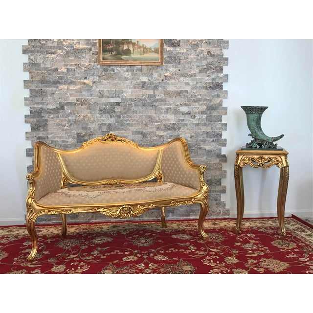 This is exact reproduction of Louis XV gold leaf beech wood sofa is great fit for an apartment, house or a part in a hotel...