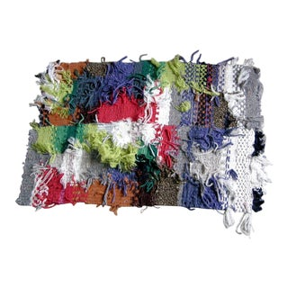 Multicolored Hand Woven Shag Rug by Paulaschubatis For Sale