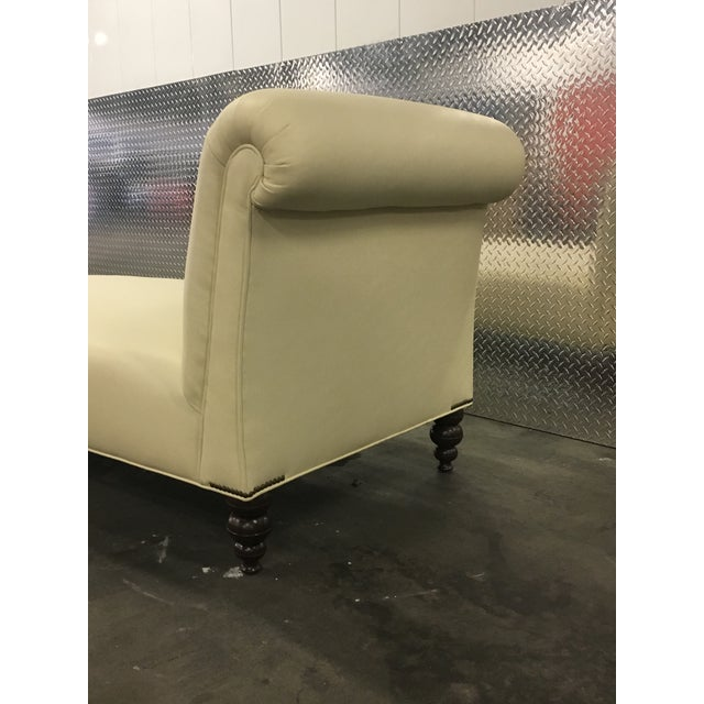 White George Smith Style Ivory Leather Chaise For Sale - Image 8 of 9