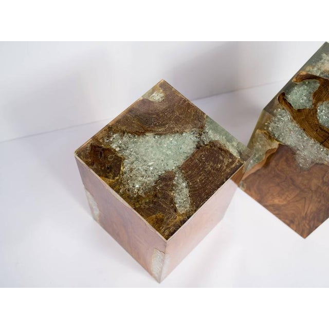 Brown Organic Teak Wood and Cracked Resin Cube Table For Sale - Image 8 of 10