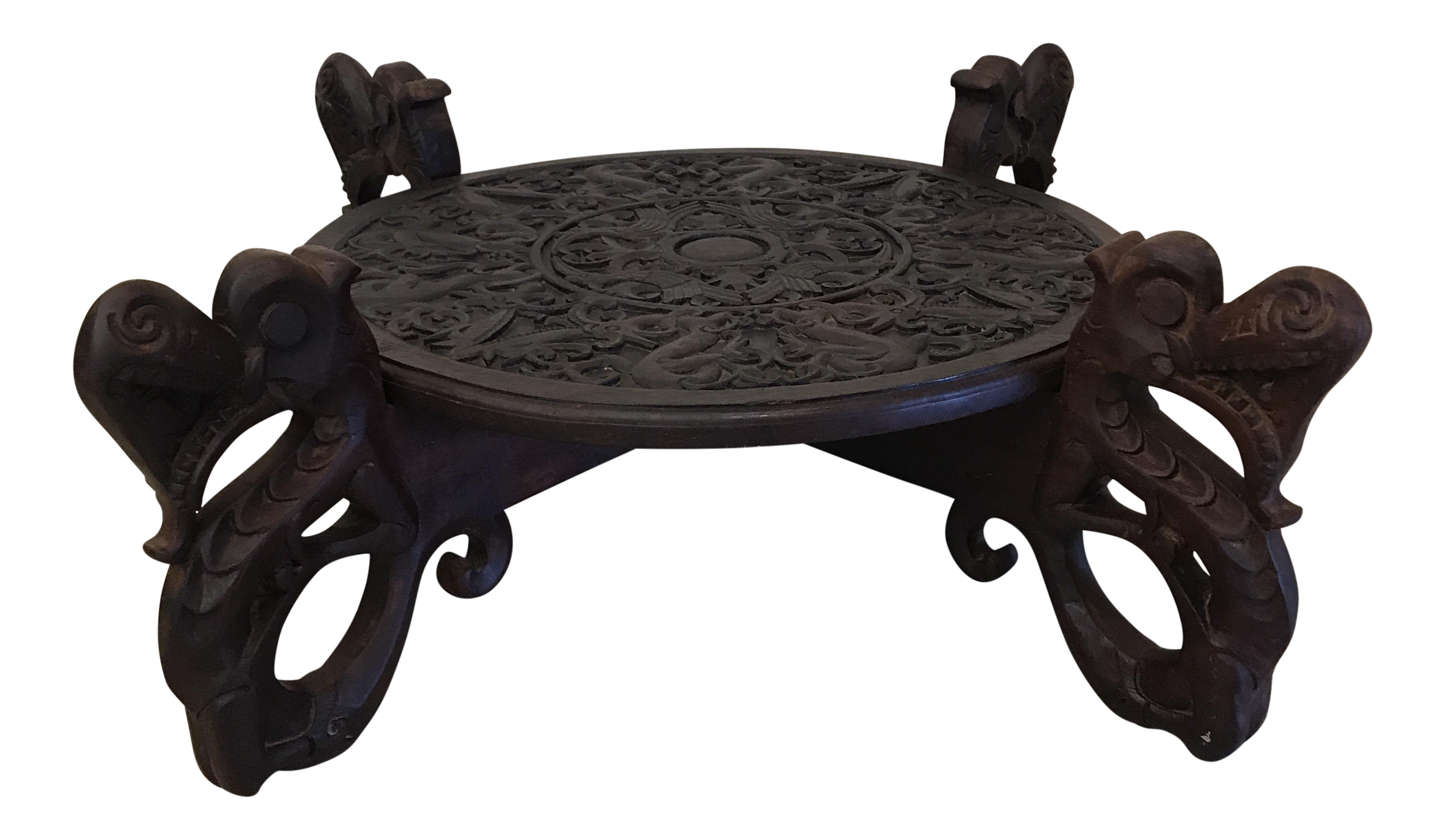 Boho Chic Carved Wood Dragon Head Coffee Table