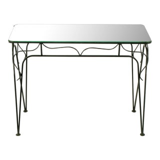 Salterini Attr. Black Wrought Iron & Mirror Top Petite Console For Sale