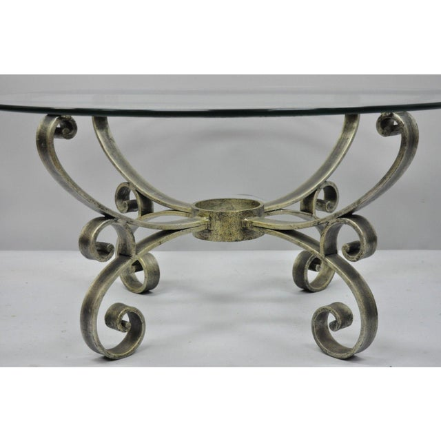 Late 20th Century Vintage Scrolling Iron & Glass Top Coffee Table For Sale - Image 4 of 11
