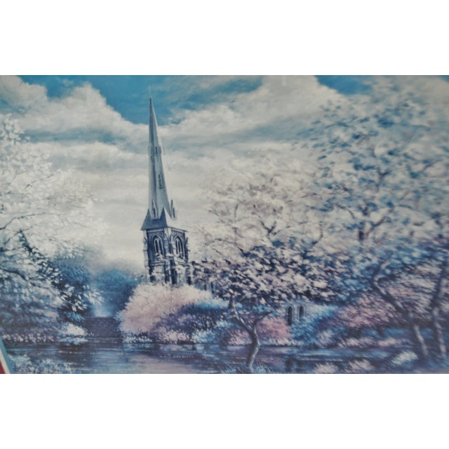 Vintage Framed Sambataro Church Steeple Print For Sale - Image 4 of 12