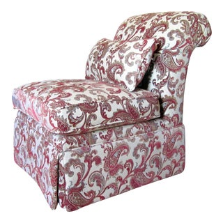 Contemporary Ivory & Red Paisley Print Slipper Chair For Sale