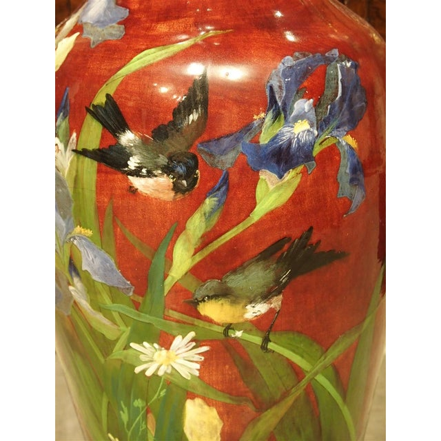 Red Grand Antique French Barbotine Vase, Parisian School Late 1800s For Sale - Image 8 of 12