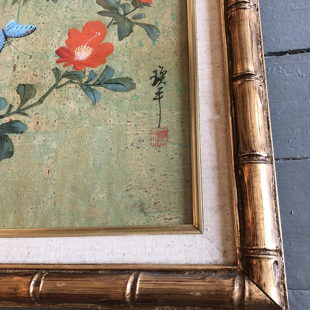 Original painting on cork paper Signed bottom right 16 x 20 overall size with vintage original gold bamboo style frame...