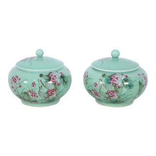 Pair of Chinese Pale Green and Pink Blossom Lidded Jars For Sale