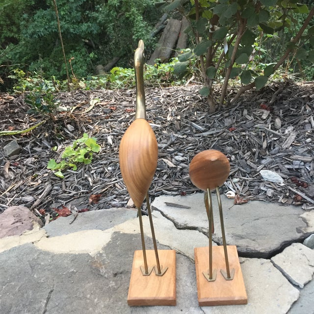 Brass & Wood Crane Figurines - A Pair For Sale - Image 4 of 11