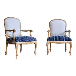 Newly Upholstered Rope & Tassel Armchairs, a Pair For Sale