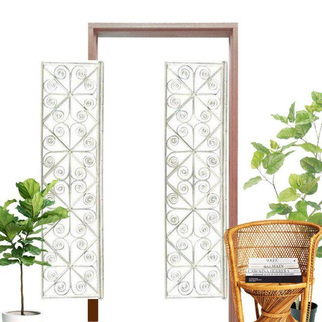 Boho Chic Vintage Peacock Curl Bamboo Swinging Doors / Entryway or Closet Doors - a Pair For Sale - Image 3 of 8