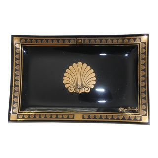 Rectangular Neoclassic 22k Gold on Black Glass Tray by Georges Briard For Sale
