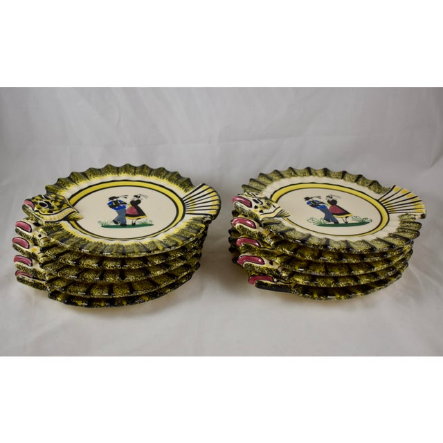 French 1940s French Faïence Henriot Quimper Fish & Breton Dancer Plate, Multiples Available For Sale - Image 3 of 12