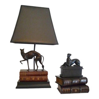 1980s After Mene Vintage Bronze Whippet Table Lamp & Accessories - 4 Pieces For Sale