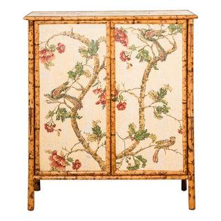 1970's Vintage Bamboo Framed Cabinet For Sale