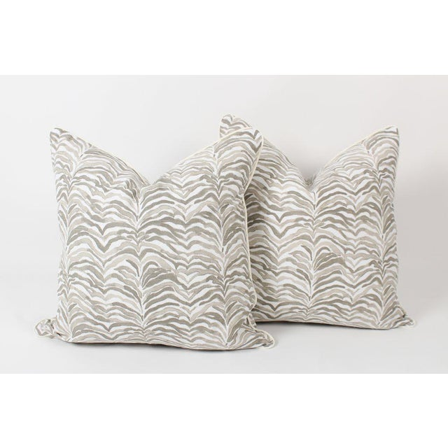 Pair of custom, high-end designer tan zebra safari pattern pillows in dune color way. Pattern on fronts and backs, solid...