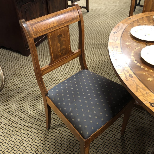 Neoclassical Inlaid Oval Table & 4 Chairs - 5 Pieces For Sale - Image 6 of 10
