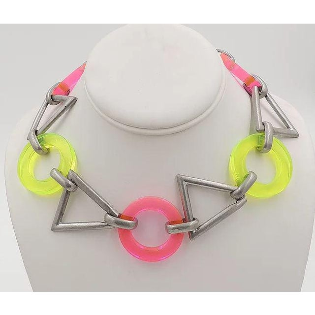 Modern Circa 1990 Ben Amun Geometric Lucite Necklace For Sale - Image 3 of 11
