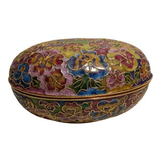 Contemporary Nyco Cloisonne Floral Enameled Covered Trinket Box With Lid For Sale