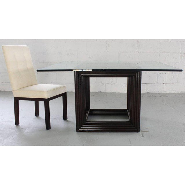 Birch Large Square Thick Glass Top Rattan Cube Base Dining Conference Table For Sale - Image 7 of 13