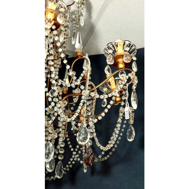 Classic Eight Light Italian Crystal Chandelier With Gilt Wood Bobeches - Image 4 of 6