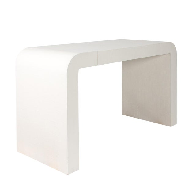 1970s Karl Springer Style White Grasscloth Waterfall Desk - Image 2 of 7