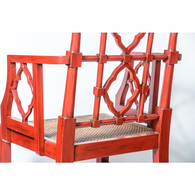 Chinese Red Lacquered Chippendale Style Gothic Chairs With Cane Seats, A-Pair For Sale In West Palm - Image 6 of 13