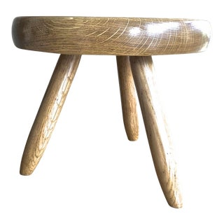 Charlotte Perriand Genuine Vintage Ash Tree Tripod Low Stool For Sale