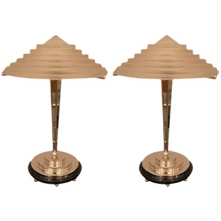 French Art Deco Table Lamps Signed by G Leleu - A Pair For Sale
