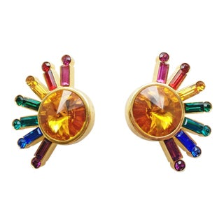 1980's Pop Art Rainbow Sunburst Earrings - a Pair For Sale