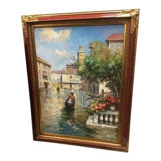 "Vintage Mid Century ""Venetian Gondola Scene"" Original Painting For Sale"