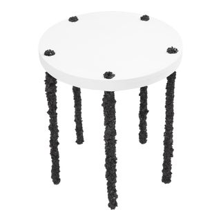 Hand Made Side Table of Black Tourmaline and White Plaster, by Samuel Amoia For Sale