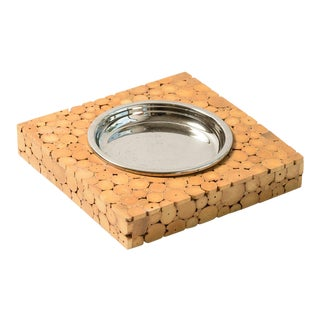 Italian Bamboo Ashtray or Catchall With Metal Insert., C.1960 For Sale