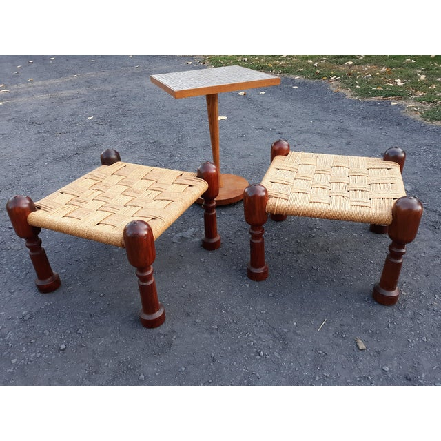 1960s 1960s Danish Modern Rosewood and Rope Ottomans - a Pair For Sale - Image 5 of 9