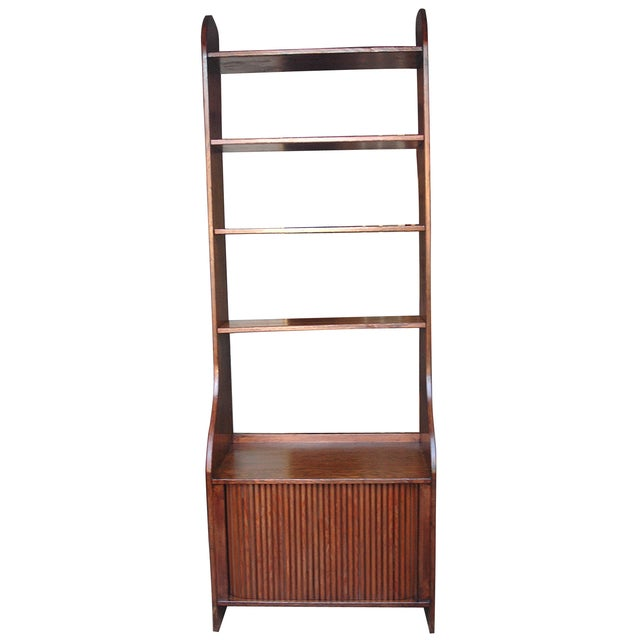 Handmade Wood Bookcase Shelves with Tambour Doors For Sale