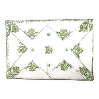 Fez Green Tray Needlepoint Linen & Napkins - Set of 7 For Sale