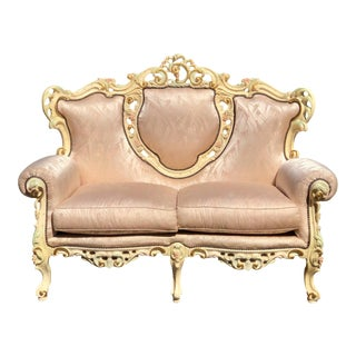 Vintage French Provincial Ornately Carved Settee For Sale