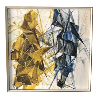 Mid Century Modern Abstract Cubist Painting on Canvas For Sale