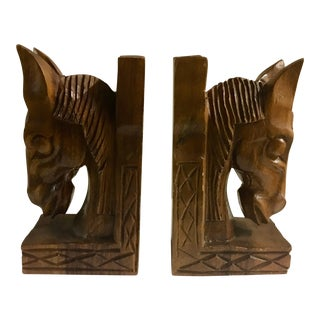1960's Carved Wood Horse Head Bookends - A Pair