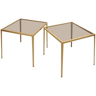 Set of Two Brass and Glass Nesting Tables by Münchner Werkstätten For Sale