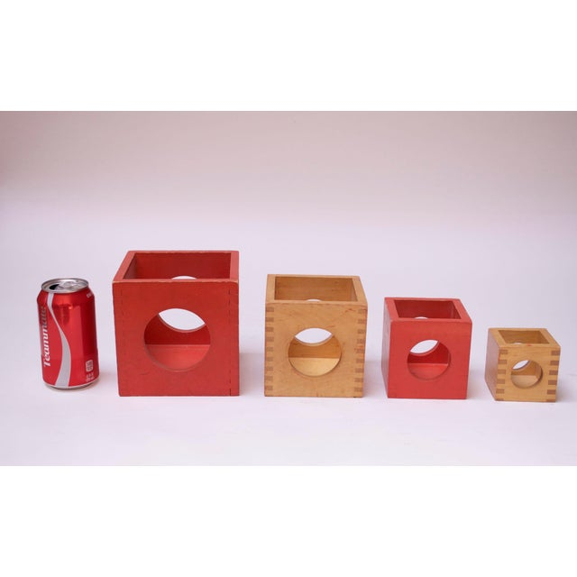 Red Set of Four Vintage Nesting Cubes by Creative Playthings of Finland For Sale - Image 8 of 13