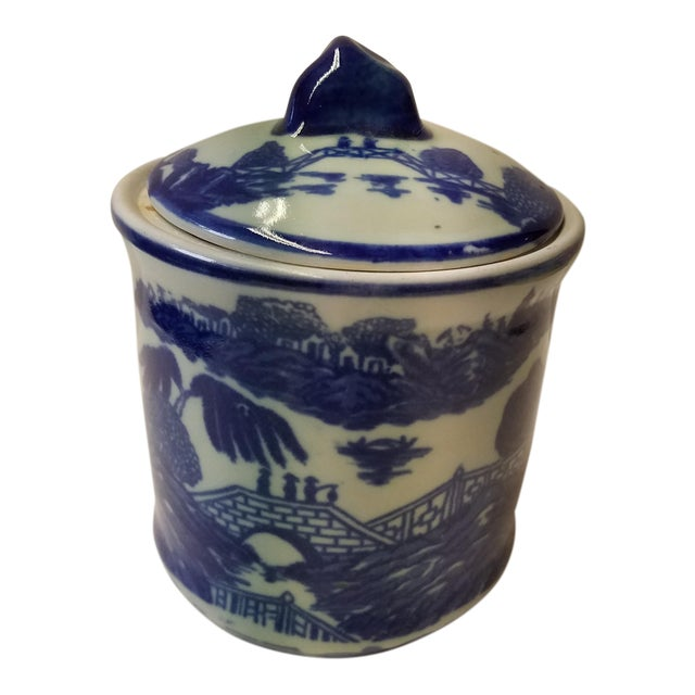 Chinese Blue Willow Ironstone Covered Jar For Sale