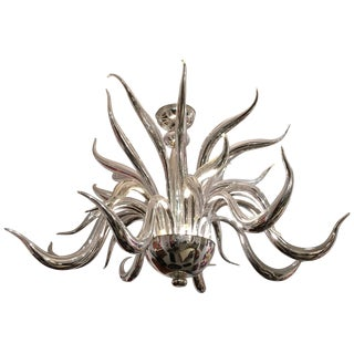 Post-War Design Italian Venetian Murano Modern Silvered Glass Chandelier For Sale