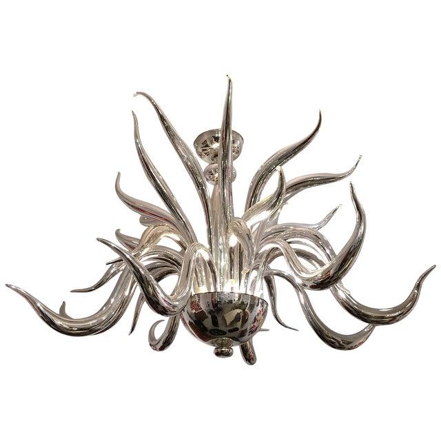 Post-War Design Italian Venetian Murano Modern Silvered Glass Chandelier For Sale