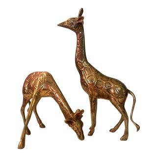 Brass Giraffe Figurines - a Pair