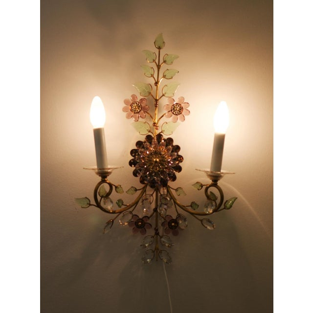 Brass Austrian vintage crystal flowers wall sconce For Sale - Image 7 of 10